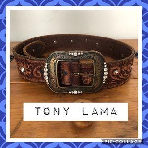 Tony & Lama Tooled Rhinestone Belt 💙